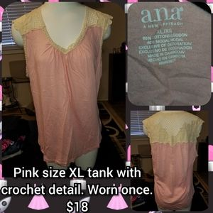 Pink size XL tank with crochet detail